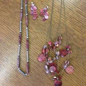 Jewelry - Pink/Red and Silver Jewelry Set (3 piece)
